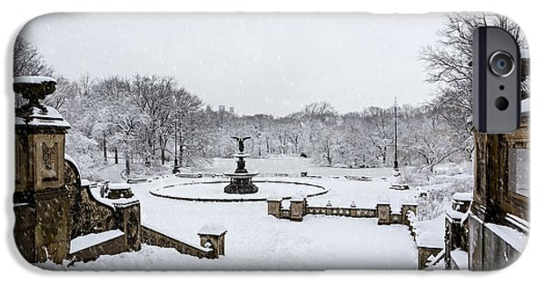 Recently Sold -  - Wintertime iPhone Cases - Bethesda Fountain In Central Park iPhone Case by Susan Candelario