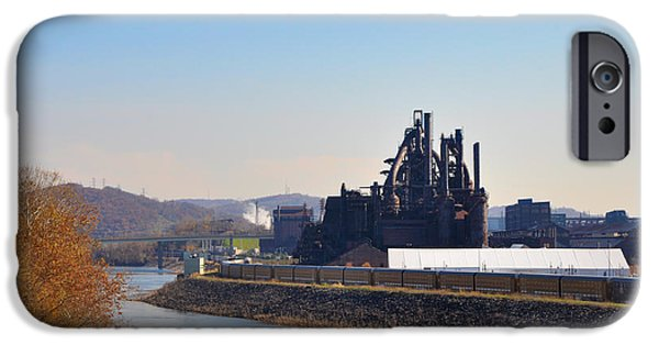 Bethlehem iPhone Cases - Bethlehem Steel and the Lehigh River iPhone Case by Bill Cannon