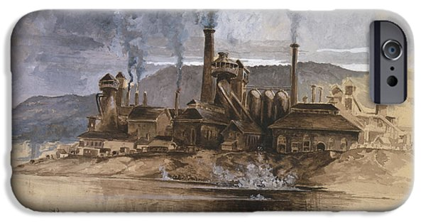 Rocks Drawings iPhone Cases - Bethlehem Steel Corporation Circa 1881 iPhone Case by Aged Pixel