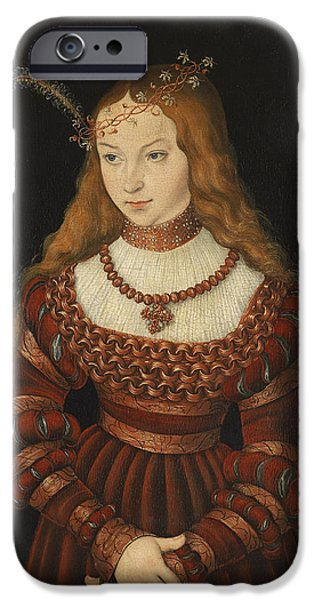 Choker iPhone Cases - Betrothal Portrait Of Sybille Of Cleves, 1526-7 Oil On Panel iPhone Case by Lucas, the Elder Cranach