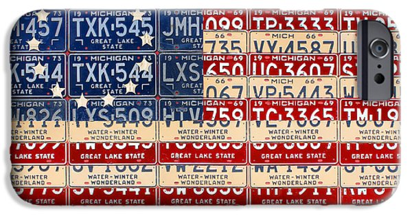 Betsy Ross iPhone Cases - Betsy Ross American Flag Michigan License Plate Recycled Art on Red Board iPhone Case by Design Turnpike