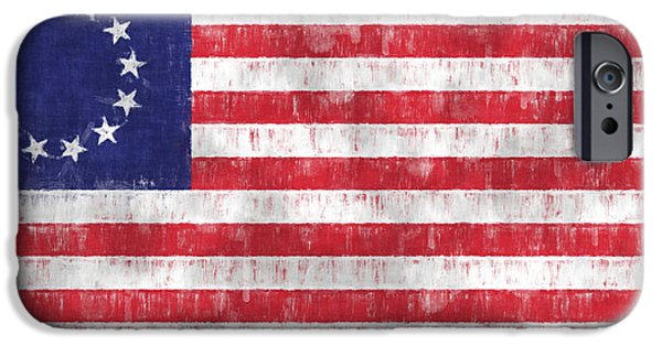 American Revolution Digital Art iPhone Cases - Betsy Ross Flag iPhone Case by World Art Prints And Designs