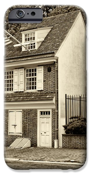 Betsy Ross iPhone Cases - Betsy Ross House iPhone Case by Jack Paolini