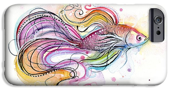 Fish Mixed Media iPhone Cases - Betta Fish Watercolor iPhone Case by Olga Shvartsur