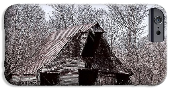 Old Barn Drawing iPhone Cases - Better Days iPhone Case by Bonnie Willis