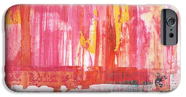 Card Mixed Media iPhone Cases - Better Days- Large Abstract iPhone Case by Linda Woods