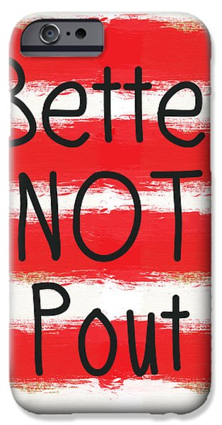 Santa iPhone Cases - Better Not Pout - Striped Holiday Card iPhone Case by Linda Woods