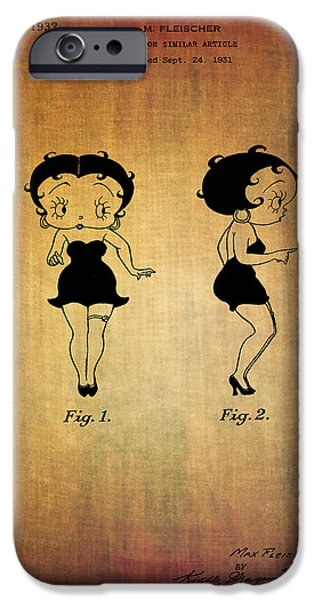 Fabulous Gifts iPhone Cases - Betty boop patent from 1932 iPhone Case by Eti Reid