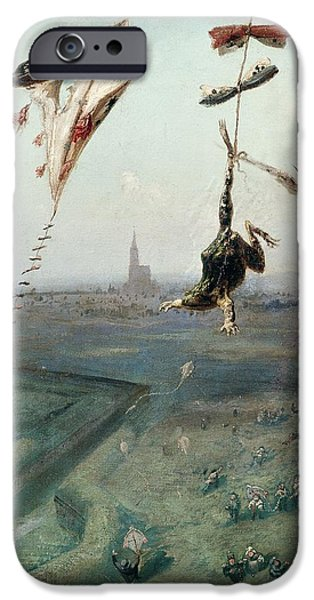 Flying Frog iPhone Cases - Between Heaven And Earth, 1862 Oil On Canvas iPhone Case by Gustave Dore