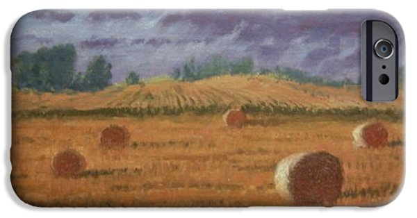 Haybales Paintings iPhone Cases - Between Showers iPhone Case by Roger Parsons