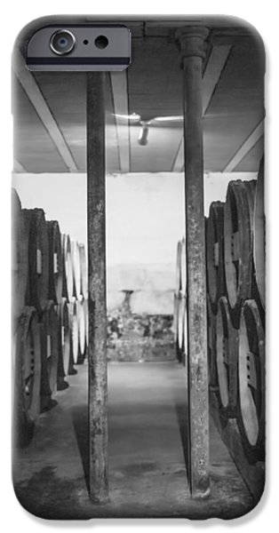 Vintage Wine Lovers iPhone Cases - Between the Barrels - Vertical iPhone Case by Nomad Art And  Design