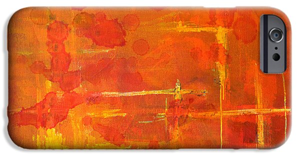 Tangerine Paintings iPhone Cases - Between the Lines iPhone Case by Nancy Merkle