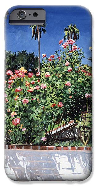 Brick Paintings iPhone Cases - Beverly Hills Roses iPhone Case by David Lloyd Glover