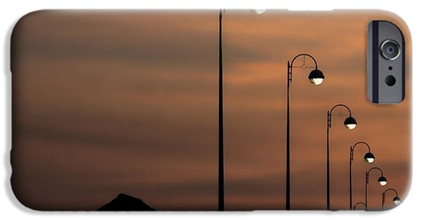 Night Lamp iPhone Cases - Bexhill Promenade iPhone Case by Sharon Lisa Clarke