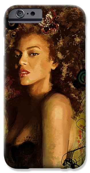 Celebrities Art Paintings iPhone Cases - Beyonce iPhone Case by Corporate Art Task Force