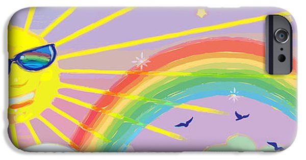 Sun Rays Mixed Media iPhone Cases - Beyond The Rainbow iPhone Case by J L Meadows