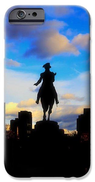 City. Boston iPhone Cases - George Washington Statue - Boston iPhone Case by Joann Vitali