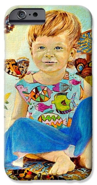 Innocence iPhone Cases - Bianka and butterflies iPhone Case by Henryk Gorecki