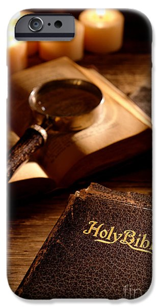 Bible Photographs iPhone Cases - Bible Study iPhone Case by Olivier Le Queinec