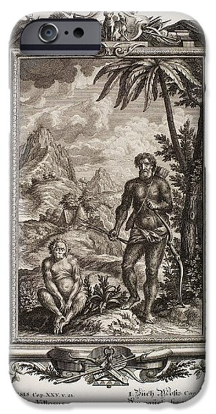 Creationism iPhone Cases - Biblical Hairy Esau, Scheuchzer, 1731 iPhone Case by Paul D. Stewart