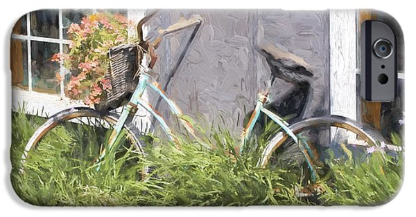 Basket iPhone Cases - Bicycle Basket of Flowers Painterly Effect iPhone Case by Carol Leigh
