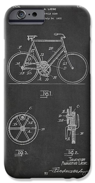 Sled iPhone Cases - Bicycle Gear Patent Drawing from 1922 - Dark iPhone Case by Aged Pixel