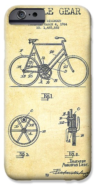 Sled iPhone Cases - Bicycle Gear Patent Drawing from 1924 - Vintage iPhone Case by Aged Pixel