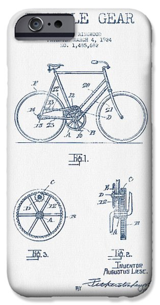 Sled iPhone Cases - Bicycle Gear Patent Drawing from 1924 - Blue Ink iPhone Case by Aged Pixel