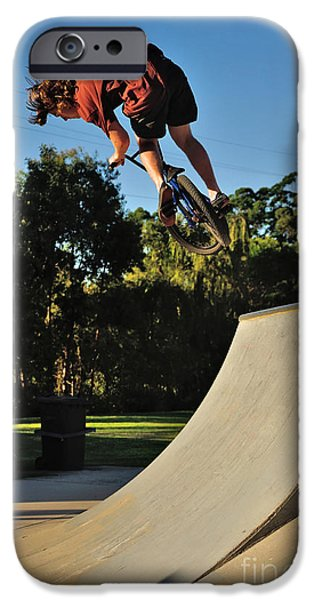 Skateboards iPhone Cases - Bicycle in Flight - Action iPhone Case by Kaye Menner