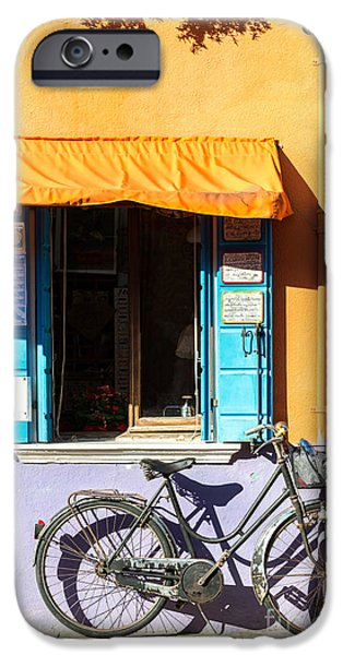 Frame House Photographs iPhone Cases - Bicycle in front of colorful house - Burano - Venice iPhone Case by Matteo Colombo
