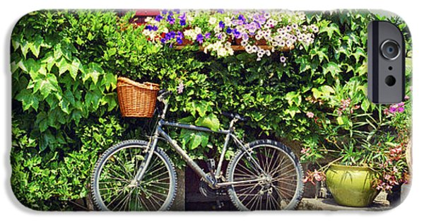 Basket iPhone Cases - Bicycle In Front Of Wall Covered With iPhone Case by Panoramic Images