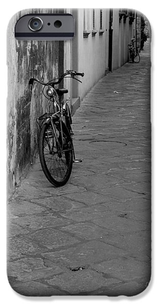 Charly iPhone Cases - Bicycle in Lucca iPhone Case by Prints of Italy