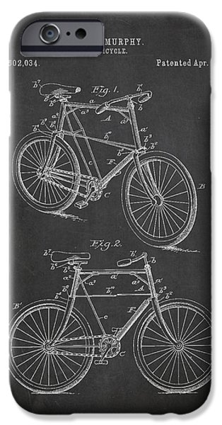 Crayons Drawings iPhone Cases - Bicycle Patent iPhone Case by Aged Pixel