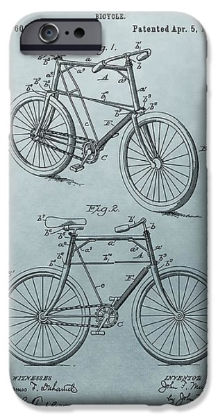 Bicycle Drawings iPhone Cases - Bicycle Patent Blue iPhone Case by Dan Sproul
