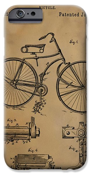 Transportation Mixed Media iPhone Cases - Bicycle Patent iPhone Case by Dan Sproul