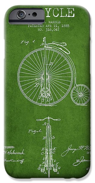 Transportation Digital Art iPhone Cases - Bicycle Patent Drawing From 1885 - Green iPhone Case by Aged Pixel