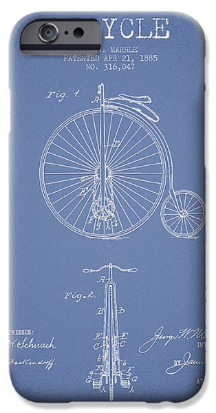 Transportation Digital Art iPhone Cases - Bicycle Patent Drawing From 1885 - Light Blue iPhone Case by Aged Pixel