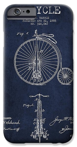 Transportation Digital Art iPhone Cases - Bicycle Patent Drawing From 1885 - Navy Blue iPhone Case by Aged Pixel