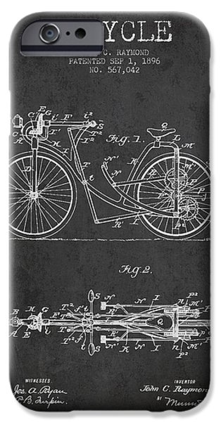 Transportation Digital Art iPhone Cases - Bicycle Patent Drawing From 1896 - Dark iPhone Case by Aged Pixel