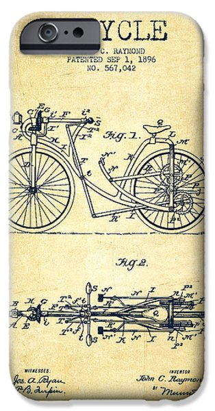 Transportation Digital Art iPhone Cases - Bicycle Patent Drawing From 1896 - Vintage iPhone Case by Aged Pixel