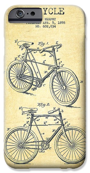 Transportation Digital Art iPhone Cases - Bicycle Patent Drawing From 1898 - Vintage iPhone Case by Aged Pixel