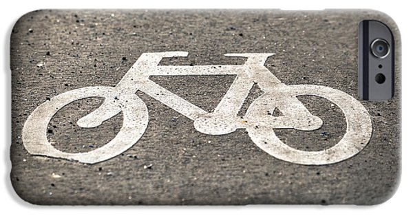Safety Pyrography iPhone Cases - Bicycle sign on the road iPhone Case by Oliver Sved
