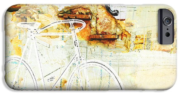 Juvenile Wall Decor iPhone Cases - Bicycle Urban Rustic Industrial Wall collage iPhone Case by ArtyZen Studios - ArtyZen Home