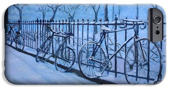 Snowscape Paintings iPhone Cases - Bicycles in Snow iPhone Case by Bhavisha Patel