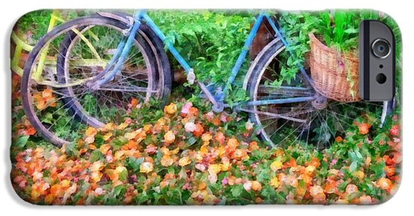 Flower Gardens Photographs iPhone Cases - Bicycles in the Garden iPhone Case by Edward Fielding