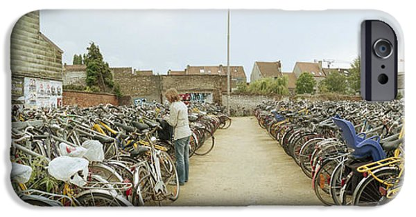 Flemish iPhone Cases - Bicycles Parked In The Parking Lot iPhone Case by Panoramic Images
