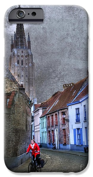 Activity iPhone Cases - Bicycling Through Bruges iPhone Case by Juli Scalzi