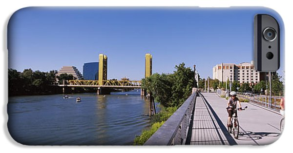 Connection iPhone Cases - Bicyclists Along The Sacramento River iPhone Case by Panoramic Images