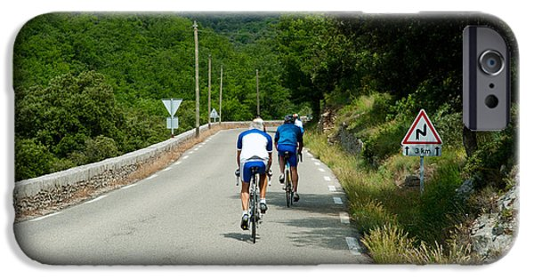 Adults Only iPhone Cases - Bicyclists On The Road, Bonnieux iPhone Case by Panoramic Images