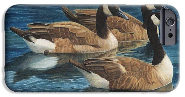 Canadian Geese Paintings iPhone Cases - Biding Time iPhone Case by Tammy  Taylor